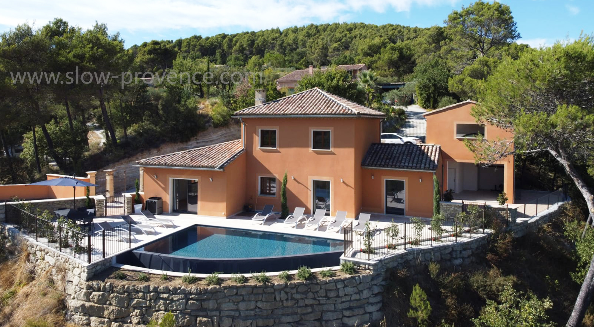 View on the beautiful rental villa in provence with private ppol and stunning view